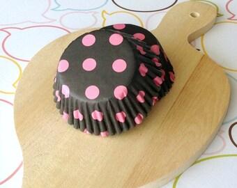 Black/Hot Pink Dots Standard Cupcake Liners