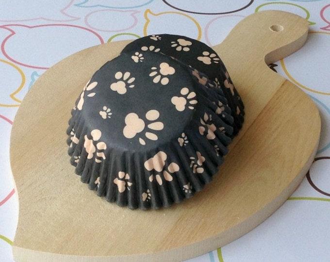 Paws Black Standard Cupcake Liner