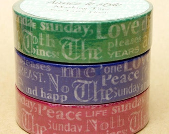 Aimez Washi Masking Tape - Font Layers in Green, Blue or Red