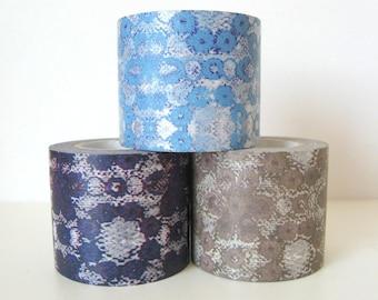 Zwillinge Washi Masking Tape - Lace in Blue, Brown or Violet - 45mm Wide