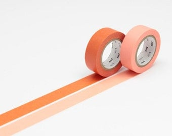 mt Washi Masking Tape - Carrot Orange & Salmon Pink - Set 2