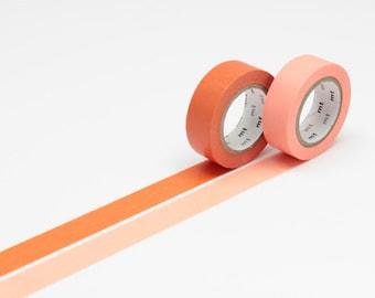 mt Washi Masking Tape - Carrot Orange & Salmon Pink - Set 2
