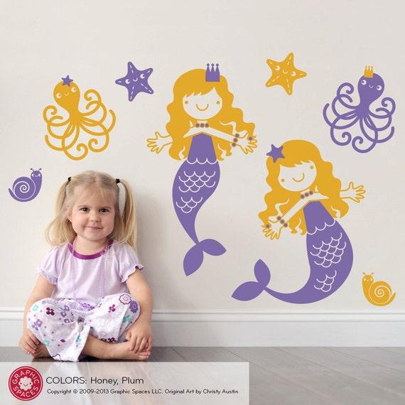 Nursery Mermaid Wall Decals & Ocean Friends Twin Pack (Set of 2)