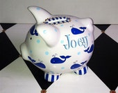 Personalized Piggy Bank Whales Design in Blue Size Small