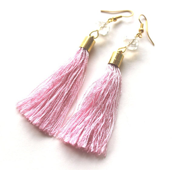 Light pink thread tassel and clear bead golden earrings