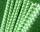 Green Chevron Zig Zag Paper Straws and PDF Printable Party Flags