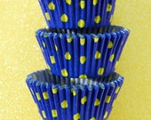 Navy Blue and Yellow polka dots Standard Cupcake Liners 50