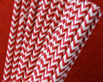 Red Chevron Zig Zag Paper Straws and PDF Printable Party Flags
