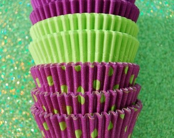 Assorted Neon Purple and Lime Green Cupcake Liner stack (45)