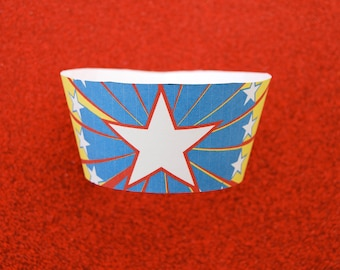 Large Star Super Hero PDF Printable Party Cupcake Wrappers  DIY
