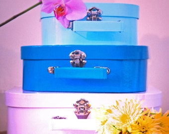 Vintage Style Travel Photo - 10x8 - suitcase, trunk, vacation, holiday, still life, color, pastels, purple, pink, blue