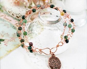 Dainty Tree of Life triple strands bracelet - agate