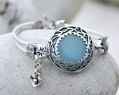 Bohemian Leather Bracelet - Silver, Jade Gemstone, Blue, White