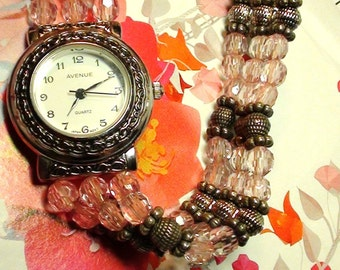 Altered Art BRACELET Watch Pink an d Silver Beads lucite 3 STRAND