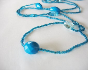 Long Seed Bead Necklace Faceted Lucite Beads Teal Blue