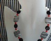 Zebra Stripe Black and White  Choker Necklace