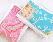SALE Girl Burp Cloths - Pink & Blue- set of 2