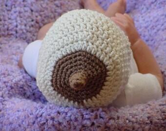 Breastfeeding Hat, Booby Beanie Newborn to 3 Month, Boob Beanie