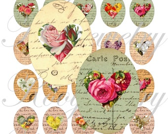 Shabby Chic Hearts 40x30mm oval images for charms, pendant, buttons, scrapbook and more Vintage Digital Collage Sheet No.1075