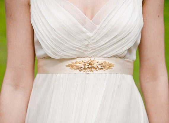 Marion Beaded Art Deco Style Belt: 3 types of gold beads, silk sash, and pearls