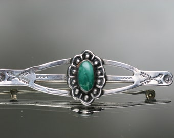 Vintage Sterling and Turquoise Southwestern Design Brooch