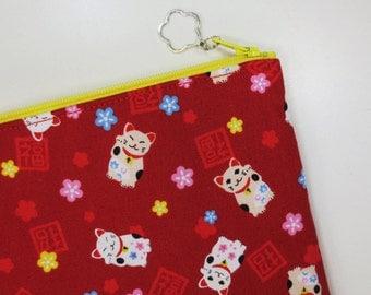 Maneki-neko iPad mini Case/ Zipper Pouch - Red