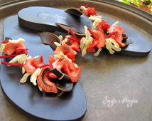 """Mother of pearl - Red and white shells- Leather sandals - Flip Flops  """"Strawberry Daiquiry"""""""