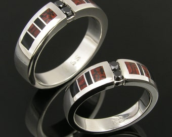 Dinosaur Bone Wedding Ring Set with Black Diamonds and Onyx Accents by Hileman Silver Jewelry