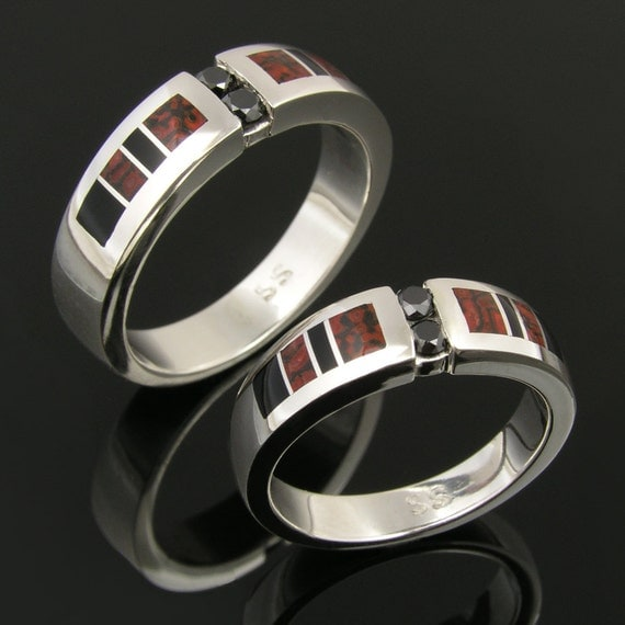 Dinosaur Bone Wedding Ring Set with Black Diamonds and yx