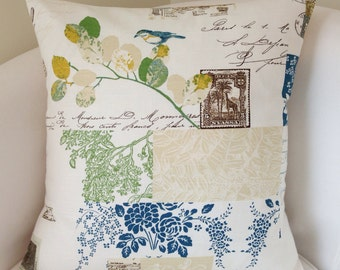 Bird Pillow French Script Pillow Cover Decorative Throw Pillow Cushion Blue Green Pillow Accent Pillow