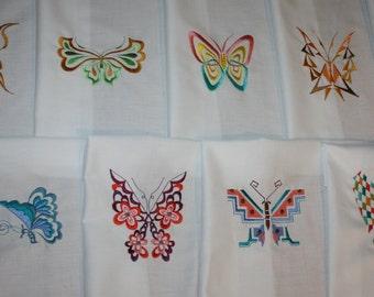 Geometric Butterflys Machine Embroidered Quilt Blocks Set