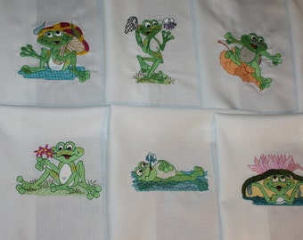 Frolicing Frogs Machine Embroidered Quilt Blocks Set B