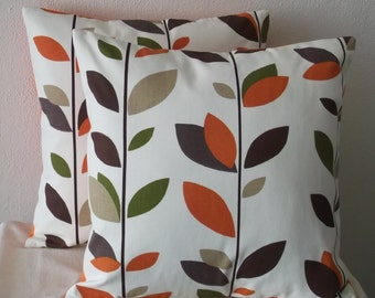 Green Brown and Orange Leaves Pillow Cover 18x18 Orange