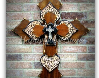 Wall CROSS - Wood Cross - X-Large - Stain, Antiqued Black, & Leopard Print