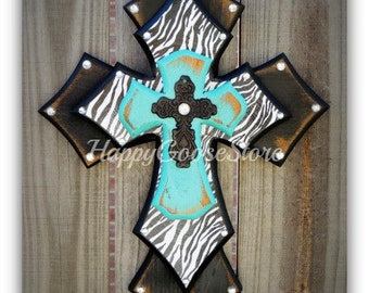 Wall Cross - Wood Cross - X-Small - Antiqued Black & Turquoise with Zebra