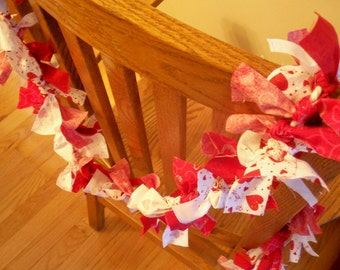 Valentines Rag Garland That is 7 Feet Long