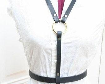 Helen Lynch Black Leather Fashion Harness goth high fashion steampunk oilpunk
