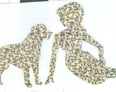 Labrador and Pin Up Silhouette, Silver Glitter Vinyl Decal