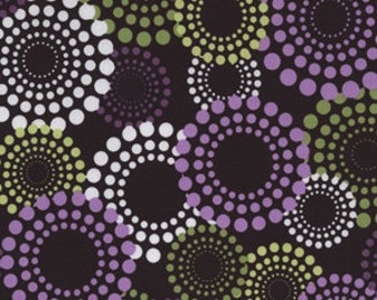Round About fabric in Lavender by Michael Miller -- brown background