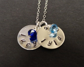 Personalized Charm Necklace - Birthstone Jewelry - Mothers Necklace - Sterling Silver