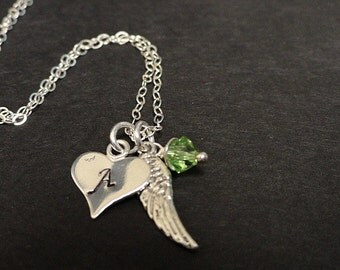 Personalized Initial Angel Wing Heart Charm Necklace - Birthstone Jewelry - Mothers Necklace - Sterling Silver - Handstamped Necklace