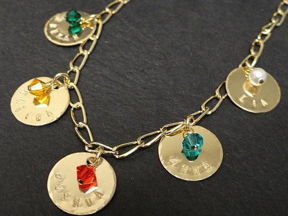 personalized gold charm bracelet birthstone by