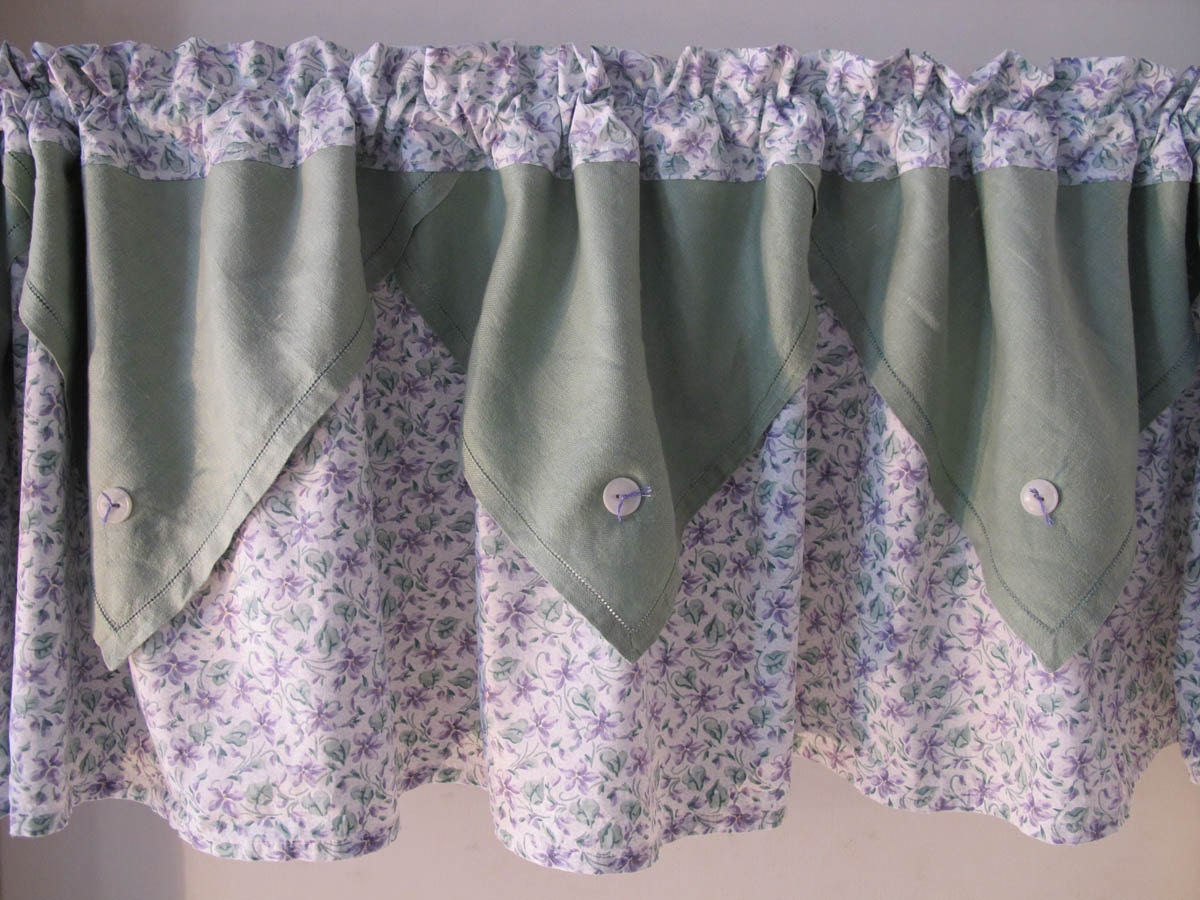 Upcycle Linen Napkins Valance Recycle Green And Purple