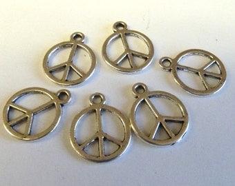 Silver Peace Symbol  Charm