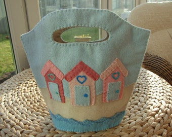 Pale Blue Felt Bag with Beach Huts