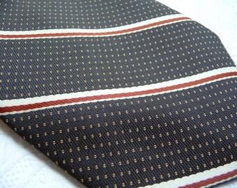 Vintage Necktie, Par Excellence Necktie, Unique Mens Tie, Mens Accessories, Brown Necktie, Brown Rust Beige,Stripe Necktie,Dress Shirt,Retro