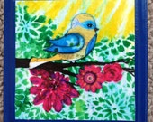 Bird and Pink Flowers on Branch, Sunshine, Art Print on 5x5 Wood Plaque, Summer, Spring, Cheerful