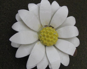 White vintage layered enamel flower pin brooch with yellow center