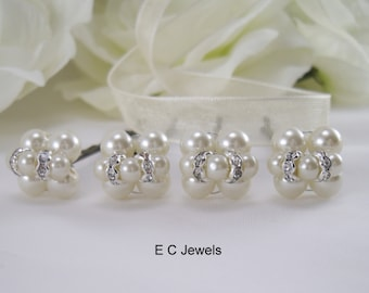 SALE Clustered Hairpins with Pearls and Rondelles