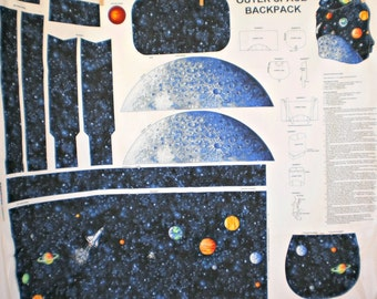 Back to School Outer Space Planetary Back Pack Fabric Panel